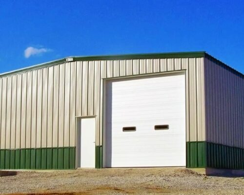 General-Steel-Metal-Warehouse-Building-with-Classic-Green-Wainscot